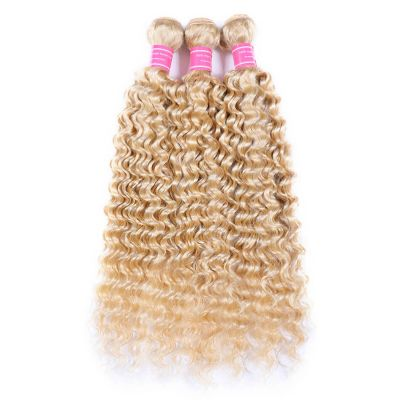 H&F 613 Blonde Human Hair Deep Wave 3 bundles