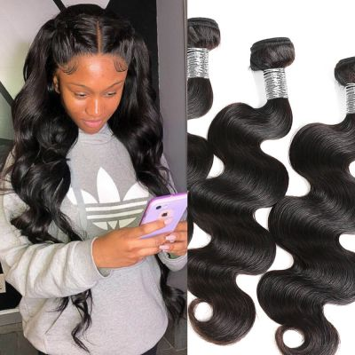H&F 10A Virgin Human Hair Body Wave 3 Bundles Natural Black