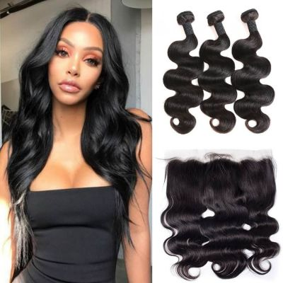 H&F 8A Virgin Human Hair Body Wave 3 Bundles With 13X4 Lace Frontal Free Part Natural Black