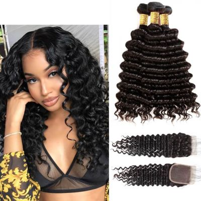 H&F 10A Virgin Human Hair Deep Wave 4 Bundles With Lace Closure Free Part Natural Black