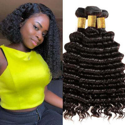 H&F 8A Virgin Human Hair Deep Wave 3 Bundles Natural Black
