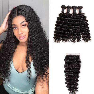 H&F 8A Virgin Human Hair Deep Wave 4 Bundles With Lace Closure Free Part Natural Black