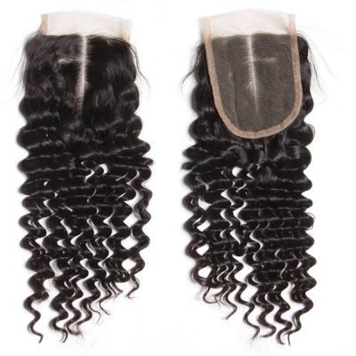 H&F Virgin Human Hair Deep Wave 4x4 Lace Closure