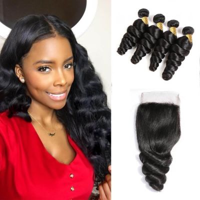 H&F 10A Virgin Human Hair Loose Wave 4 Bundles With Lace Closure Free Part Natural Black