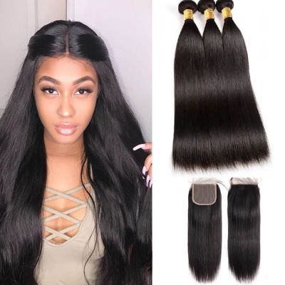 H&F 10A Virgin Human Hair Slik Straight 3 Bundles With Lace Closure Free Part Natural Black