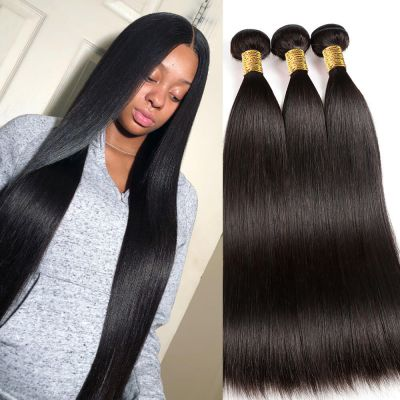 H&F 8A Straight Virgin Human Hair 3 Bundles Natural Black