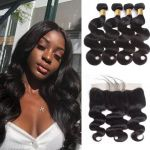 H&F 10A Virgin Human Hair Body Wave 4 Bundles With 13X4 Lace Frontal Free Part Natural Black
