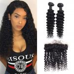 H&F 8A Virgin Human Hair Deep Wave 2 Bundles With Lace Frontal Free Part Natural Black