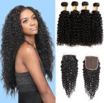H&F 10A Jerry Curly Virgin Human Hair 4 Bundles With Lace Closure Free Part Natural Black