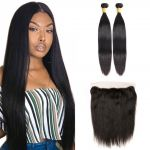 H&F 10A Virgin Human Hair Slik Straight 2 Bundles With 13X4 Lace Frontal Free Part Natural Black