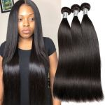 H&F 10A Straight Virgin Human Hair 3 Bundles Natural Black