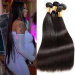 H&F 8A Straight Virgin Human Hair 4 Bundles Natural Black