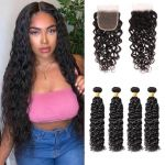 H&F 10A Virgin Human Hair Water Wave 4 Bundles With Lace Closure Free Part Natural Black