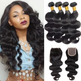 H&F 10A Virgin Human Hair Body Wave 4 Bundles With Lace Closure Free Part Natural Black