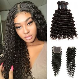 H&F 8A Virgin Human Hair Deep Wave 3 Bundles With Lace Closure Free Part Natural Black