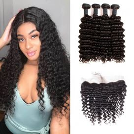 H&F 8A Virgin Human Hair Deep Wave 4 Bundles With Lace Frontal Free Part Natural Black