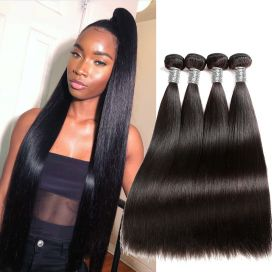 H&F 10A Straight Virgin Human Hair 4 Bundles Natural Black
