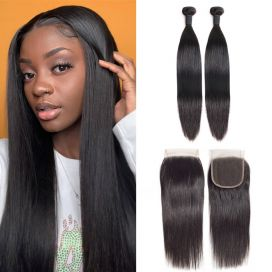 H&F 8A Virgin Human Hair Silk Straight 2 Bundles With Lace Closure Free Part Natural Black