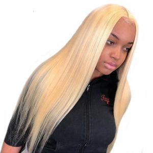 H&F 613 Blonde Straight Human Hair 4 Bundles With Lace Frontal Pre Plucked Ear To Ear