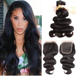 H&F 10A Virgin Human Hair Body Wave 3 Bundles With Lace Closure Free Part Natural Black
