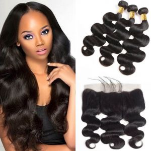 H&F 10A Virgin Human Hair Body Wave 3 Bundles With 13X4 Lace Frontal Free Part Natural Black