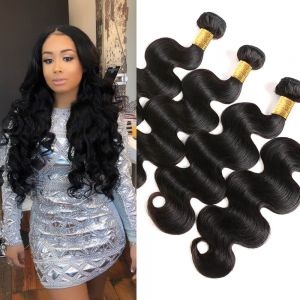 H&F 8A Virgin Human Hair Body Wave 4 Bundles Natural Black