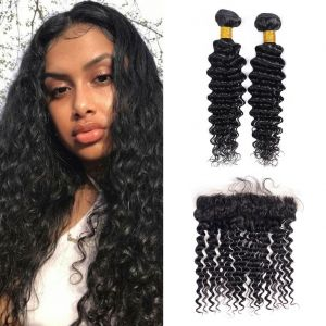 H&F 10A Virgin Human Hair Deep Wave 2 Bundles With Lace Frontal Free Part Natural Black