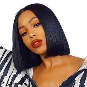 H&F Lace Front Bob Wigs Straight Human Hair 150% Density Pre Plucked with Baby Hair Natural Black