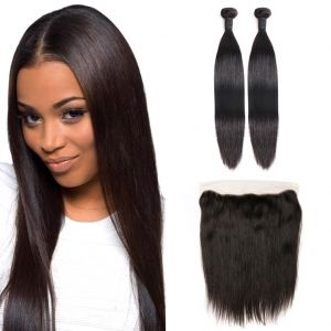 H&F 8A Virgin Human Hair Slik Straight 2 Bundles With 13X4 Lace Frontal Free Part Natural Black