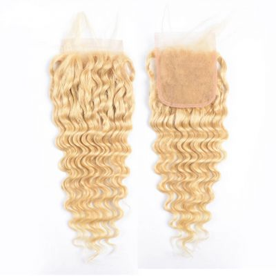 H&F 613 Blonde Human Hair Deep Wave 4x4 Lace Closure