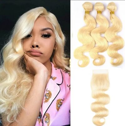 H&F 613 Blonde Body Wave Human Hair 3 Bundles With Lace Frontal Free Part
