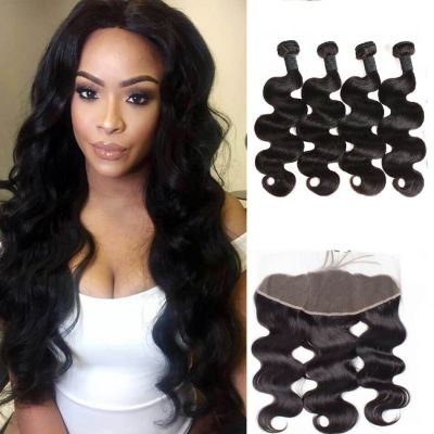 H&F 8A Virgin Human Hair Body Wave 4 Bundles With 13X4 Lace Frontal Free Part Natural Black