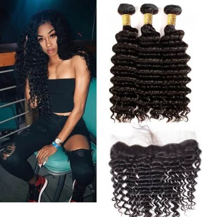H&F 10A Virgin Human Hair Deep Wave 3 Bundles With Lace Frontal Free Part Natural Black