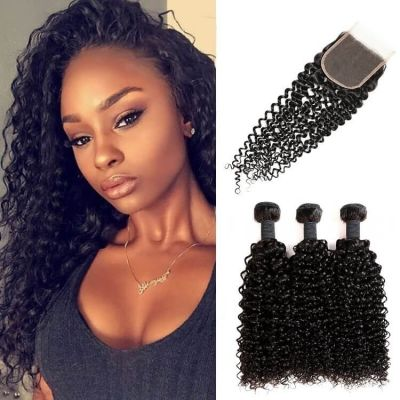 H&F 8A Jerry Curly Virgin Human Hair 3 Bundles With Lace Closure Free Part Natural Black