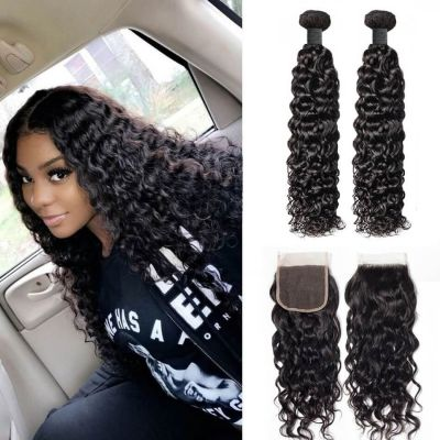 H&F 8A Virgin Human Hair Water Wave 4 Bundles With Lace Closure Free Part Natural Black