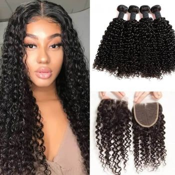 H&F 8A Jerry Curly Virgin Human Hair 4 Bundles With Lace Closure Free Part Natural Black