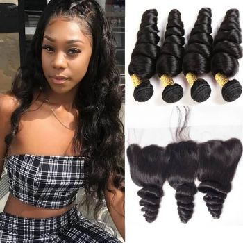 H&F 10A Virgin Human Hair Loose Wave 4 Bundles With Lace Frontal Free Part Natural Black