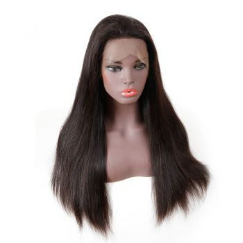 H&F Full Lace Straight Virgin Human Hair Wig Natural Color