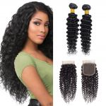 H&F 10A Virgin Human Hair Deep Wave 2 Bundles With Lace Closure Free Part Natural Black