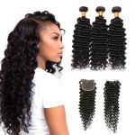H&F 10A Virgin Human Hair Deep Wave 3 Bundles With Lace Closure Free Part Natural Black