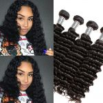 H&F 10A Virgin Human Hair Deep Wave 4 Bundles Natural Black