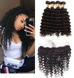 H&F 10A Virgin Human Hair Deep Wave 4 Bundles With Lace Frontal Free Part Natural Black
