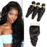 H&F 10A Virgin Human Hair Loose Wave 3 Bundles With Lace Closure Free Part Natural Black