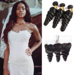 H&F 10A Virgin Human Hair Loose Wave 3 Bundles With Lace Frontal Free Part Natural Black