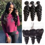 H&F 8A Virgin Human Hair Loose Wave 3 Bundles With Lace Frontal Free Part Natural Black
