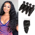 H&F 8A Virgin Human Hair Loose Wave 4 Bundles With Lace Closure Free Part Natural Black