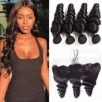 H&F 8A Virgin Human Hair Loose Wave 4 Bundles With Lace Frontal Free Part Natural Black