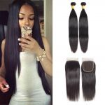 H&F 10A Virgin Human Hair Silk Straight 2 Bundles With Lace Closure Free Part Natural Black