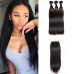 H&F 8A Virgin Human Hair Slik Straight 3 Bundles With Lace Closure Free Part Natural Black