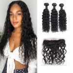 H&F 8A Virgin Human Hair Water Wave 3 Bundles With Lace Frontal Free Part Natural Black